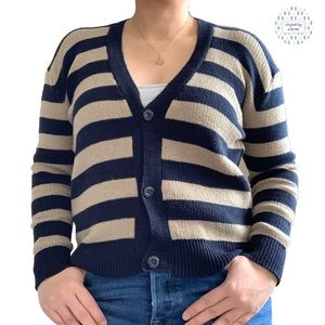 Sweaters - Stripped Knit Cardigan